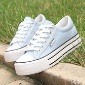 夏季新款透氣百搭小白鞋鬆糕底厚底帆布鞋學生休閒鞋女鞋 聖誕歡樂購免運