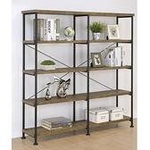 美斯特工業風寬書櫃-寬152.4x36x160cm-仿古橡木棕
