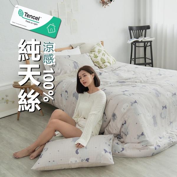 #TCL24#奧地利100%TENCEL涼感純天絲6尺雙人加大床包舖棉兩用被套四件組(含枕套)限單組超取[SN]