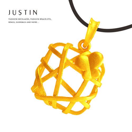 Justin金緻品 黃金墜子 祝福花圈 金飾 純金墬飾 送精緻皮繩 花型 9999純金 編織款