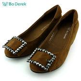 ★新品上市★【Bo Derek】大水鑽方扣飾內增高娃娃鞋-駝