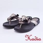 kadia.輕熟魅力 真皮花朵夾腳拖鞋(9104-20銀灰色)