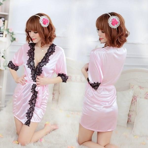 女衣性感低胸粉色浴袍女衣日系浴衣和服情趣內睡衣