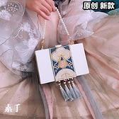 西塘手工方形提花刺繡手提斜背搭配旗袍漢服口金包包送閨蜜女友 嬡孕哺