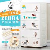 【收納+】42面寬-奔跑斑馬五層抽屜收納櫃-附輪DIY如圖