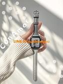 《小象灰》小蠻腰真皮表帶適用于蘋果手表iWatch6