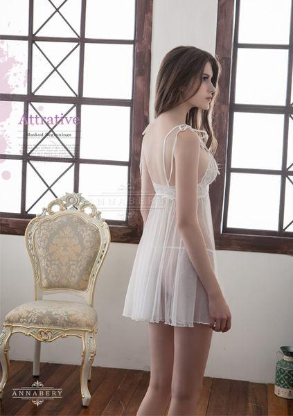 【中大尺碼睡衣】純白雙層交疊薄紗二件式透視性感睡衣 星光密碼B049