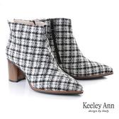 ★2019秋冬★Keeley Ann我的日常生活 英格蘭風木紋跟短靴(黑色) -Ann系列