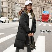藍色巴黎 ★ 秋冬 保暖加厚連帽羽絨舖棉拉鍊中長版風衣外套大衣《M~ XL 》【28615】