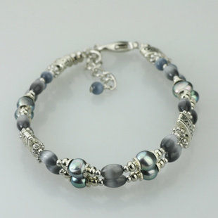 貓眼石珍珠OL時尚手鏈女多層復古水晶