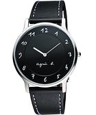 agnes b. 法國時尚藝術腕錶-黑/39mm VJ20-K240Z(BJ5005X1)