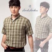 【大盤大】Brooks Brothers 男 綠 日本百貨專櫃 M號 經典格紋 短袖襯衫 精品 蘇格蘭 休閒 商務