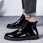 秋季男士高幫休閒皮鞋韓版英倫純黑色馬丁靴黑皮靴漆皮亮面男靴子LXY4049【MG大尺碼】