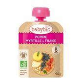 法國Babybio 有 機蘋果藍莓草莓纖果泥 隨行包90g[衛立兒生活館]