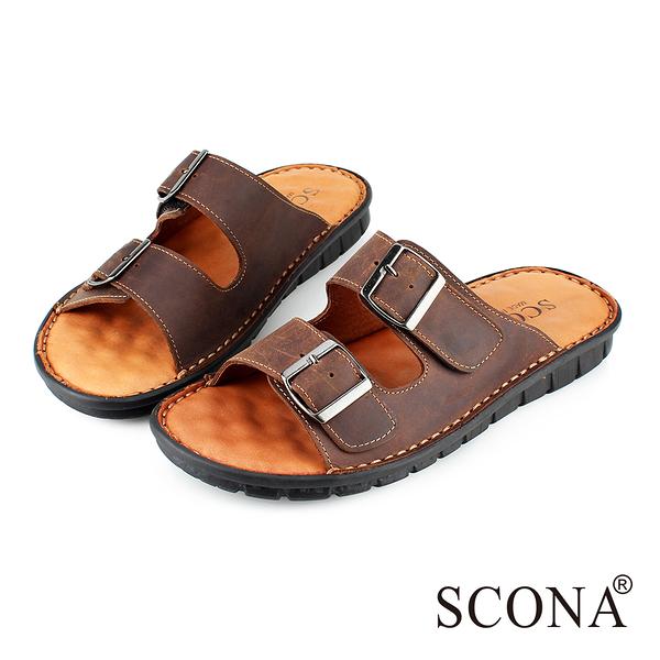 SCONA 全真皮 精緻手工厚底涼拖鞋 咖啡色 1735-2