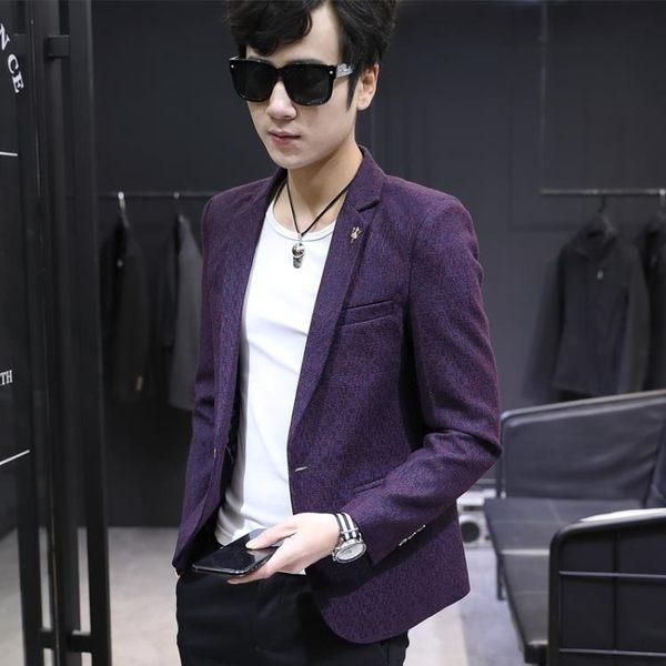 小西裝男春季薄款一套韓版修身外套春夏休閒西服上衣帥氣潮流套裝-Ifashion
