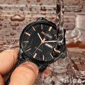男士手錶 黑面42mm大表盤學生夜光防水鋼鏈機械石英表 nm7366【VIKI菈菈】
