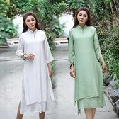 立領洋裝 禪意民族風女裝寬鬆顯瘦過膝中長款禪修茶服立領白色棉麻洋裝子-Milano米蘭