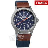 TIMEX 天美時 / TXTW4B14100 / 美國品牌 INDIGLO專利冷光照明 24小時顯示 真皮帆布手錶 藍x灰框 40mm