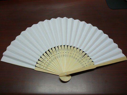 8英吋空白扇子 彩繪扇子 20cm手繪扇(日本扇子.小紙摺竹片單面紙)/一支入{定20}~005153