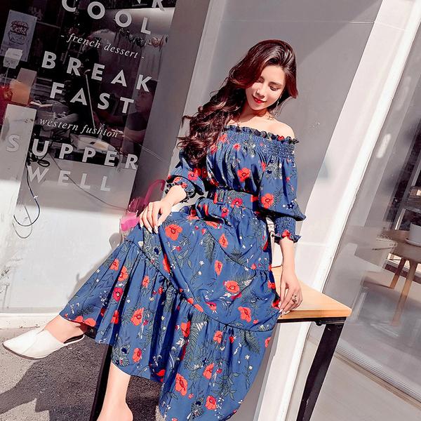 絕版出清 韓國風一字領名媛露肩雪紡度假裙仙女裙長袖洋裝