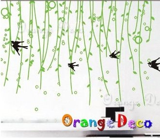 壁貼【橘果設計】燕子紛飛 DIY組合壁貼/牆貼/壁紙/客廳臥室浴室幼稚園室內設計裝潢