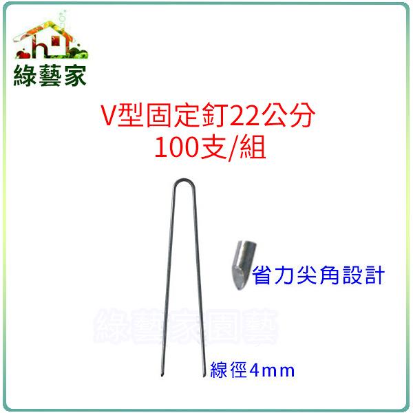 【綠藝家】V型固定釘22公分100支/組(線徑4mm.V型釘.鐵線釘)