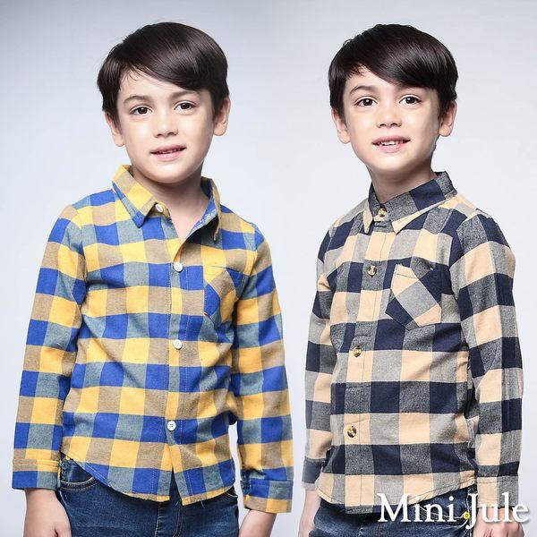 Mini Jule男童 上衣 單邊口袋撞色格子復古長袖襯衫(共2色)