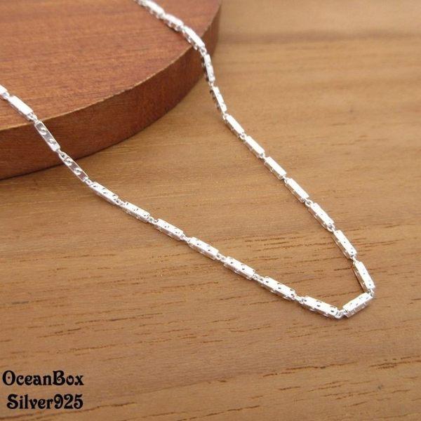 ☆§海洋盒子§☆18吋~立體矩形點點設計義大利S925純銀單鍊子