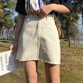 短裙毛邊牛仔半身裙子韓版百搭學院風高腰顯瘦A字短裙潮小艾時尚
