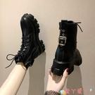 馬丁靴 厚底馬丁靴女英倫風2021新款網紅增高靴秋冬短靴顯瘦靴子 愛丫 新品