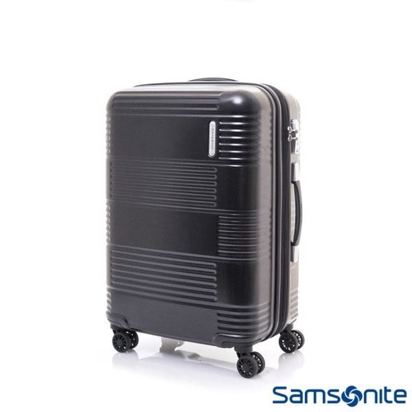 Samsonite新秀麗 MAZON 幾何線條PC可擴充 旅行箱/行李箱-24吋(黑)
