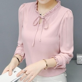 韓系優雅長袖雪紡上衣女內搭襯衫