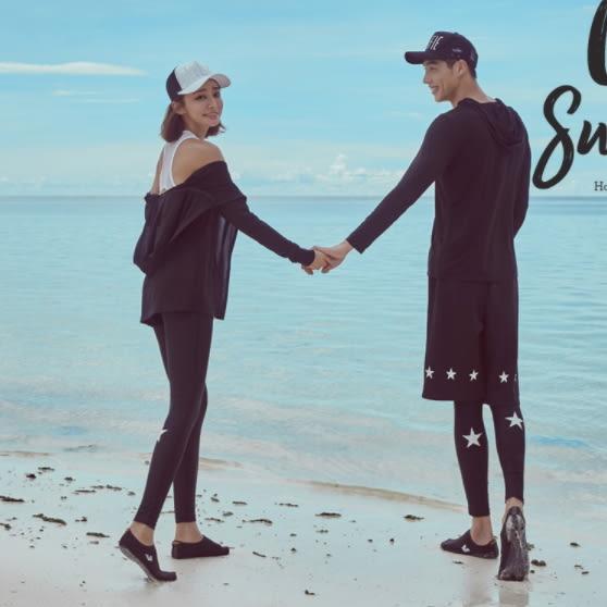 梨卡★現貨 - 顯瘦[長袖拉鍊外套+短褲+長褲]五件式星星衝浪衣潛水衣運動套裝泳裝泳衣CR356