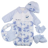 【愛的世界】純棉北極熊兩用嬰衣禮盒-藍/3~6個月-台灣製- ★禮盒推薦