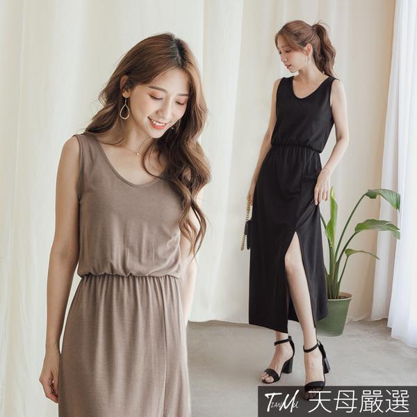 【天母嚴選】前開衩深V露背縮腰連身洋裝(共三色)