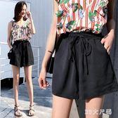運動短褲夏季新款韓版大碼女裝寬鬆高腰a字闊腿褲黑色熱褲 QQ19410『MG大尺碼』
