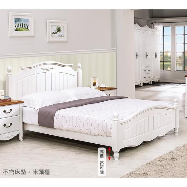【森可家居】瑪莎白色6尺床台 9H133-02 英法式鄉村風 雙人加大床架 框 全實木