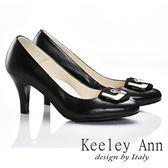 Keeley Ann 唯美好感~大方金屬環扣全真皮舒適軟墊高跟鞋(黑色)