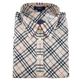 【奢華時尚】BURBERRY 米色經典菱格紋女用L號純棉襯衫(全新未使用)#24028