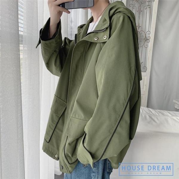 工裝風衣男 秋季正韓青少年上衣休閒寬鬆工裝連帽外套夾克男bf風衣潮