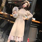 針織連身裙秋冬季2018新款女裝中長款內搭兩件套毛衣長裙過膝寬鬆 艾尚旗艦店