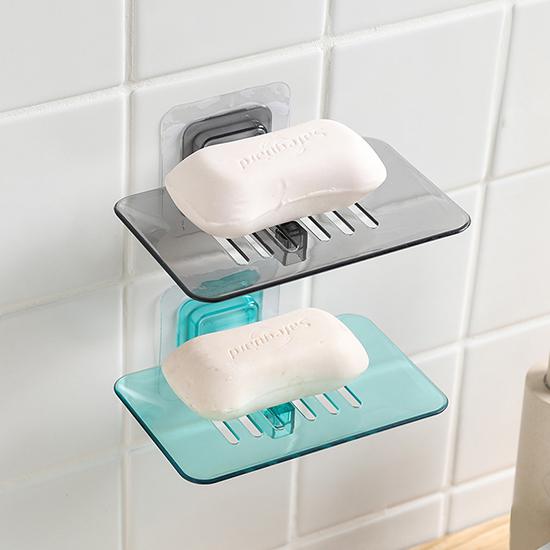 香皂盒 瀝水架 肥皂架 置物架 吸壁式 浴室 廚房 無痕膠 水晶皂盒 免釘 可拆卸 【N385】生活家精品