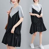 洋裝 中大尺碼女裝 2021夏季新款胖妹妹寬鬆文藝大碼短袖連身裙顯瘦中長款休閑裙