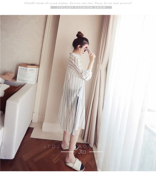 (全館一件免運)DE SHOP~(N-5196)中長款豎條紋袖防曬衣圓領長袖襯衫外套內搭衫女上衣服長版寬鬆