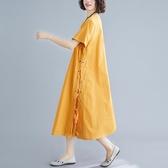 依多多 亞麻棉麻連身裙 1色(M~2XL)