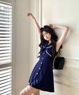 VK精品服飾 韓國風海軍領顯瘦單排扣時尚無袖洋裝
