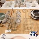 杯架馬克杯帶木質提手北歐極簡鐵藝家用紅酒杯收納架【古怪舍】