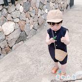 男童無袖連身衣 純色哈衣洋氣連身衣【奇趣小屋】