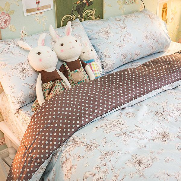 小樹苗與薄荷藍  K3雙人King Size床包與雙人兩用被四件組 100%精梳棉 台灣製